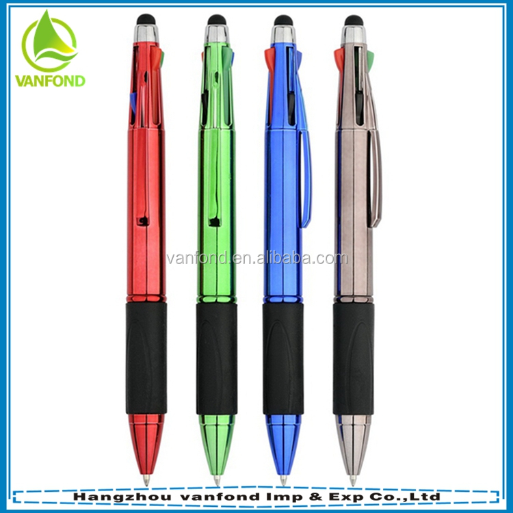 Customized Logo touch screen function 4 colors ink promotional plastic ball pen
