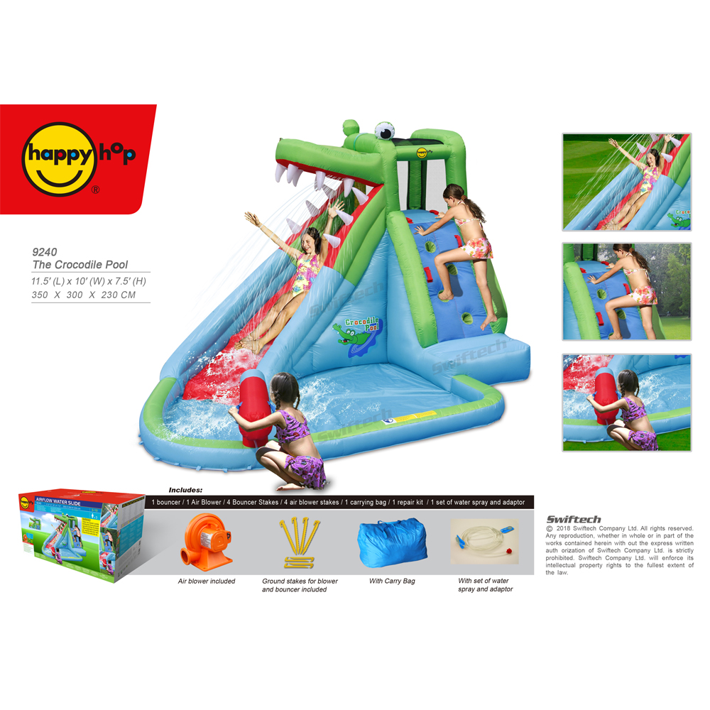 Happy Hop Inflatable Bouncer with Slide-9240Giant Children Inflatabtable Super Crocodile Pool