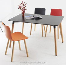 MDF leisure black plastic table with beech wood legs TB-01