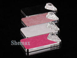 Deluxe Hot Pink Chrome Bling Crystal Rhinestone Hard Case Skin Cover for Apple iPhone 4 4S 4G