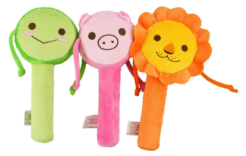 ICTI baby toy factory custom animal shape hand rattle drum toy