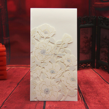 Most popular 2016 flowers shaped laser cut wedding invitations embossed card