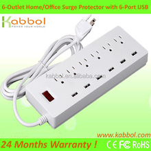 Stablized AC Power Strip 6 Outlet Surge Protector Thin Power Strip with 6 USB Ports for Moto X Style, Asus Zenfone 2