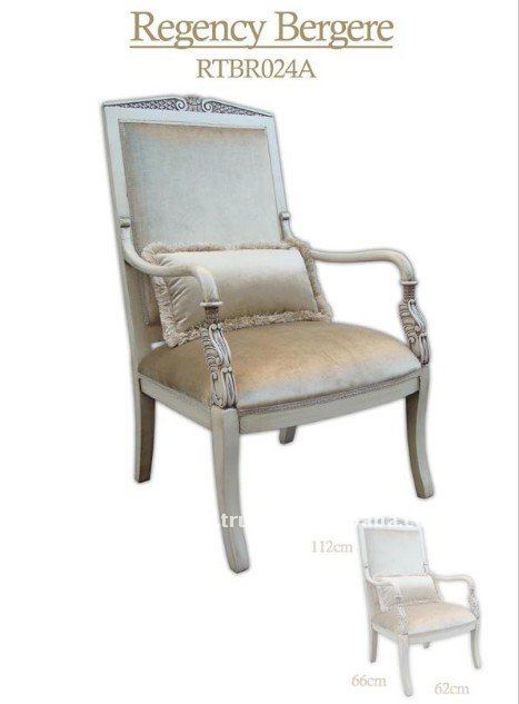 Living Room Handcraft Beechwood Silver Color Antique Carved Chairs