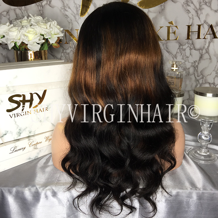 Body Wave Glueless Human Hair Lace Front Wig 3 Tone Ombre Lace  Wig