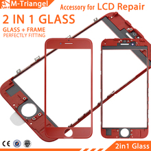 Original cold press 2 in 1 Front Screen Glass With Frame For iphone 7 7g plus 6 6s plus 5 5s 5c 4 3G repair Replacement