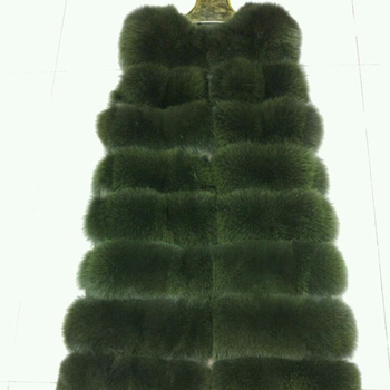 Top Quality Wholesale Dark Green Real Long Fox Fur Vest