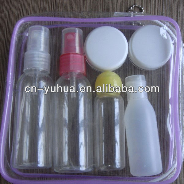 easy to carry 6pcs plastic travel cosmetic bottle set ST-09