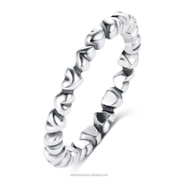 LZESHINE Latest Design 925 Sterling Silver Stackable Heart Thin Rings For Women Vintage Antique Silver Ring Jewelry PSRI0003-B