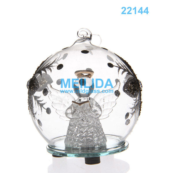 Led light glass ball ornaments with angel