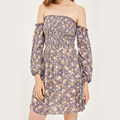 Ivory Floral Print Shirred Mini Bardot Dress Women Casual Dress in Floral Print