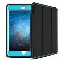3 Layers Drop Proof TPU PC Leather Smart Case For iPad Mini 4 Smart Case Turquoise