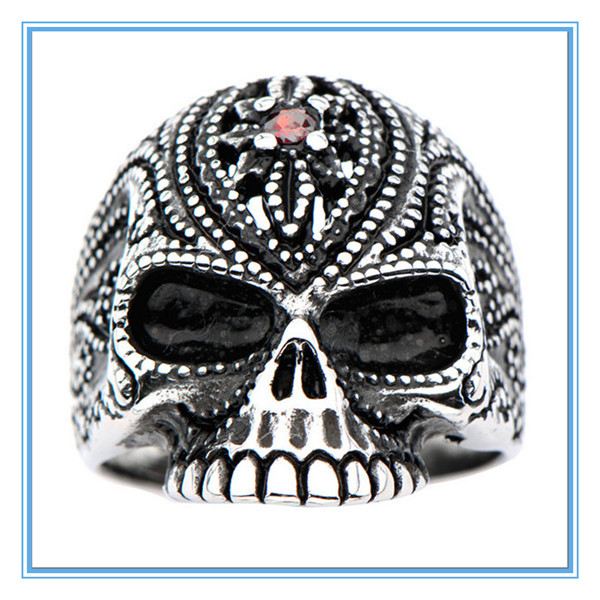 Yiwu Aceon Stainless Steel Black Oxidized Red Gem Sugar Skull Ring