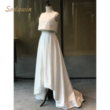 Square Neckline 2015 dubai two piece satin Alibaba Wedding Dress