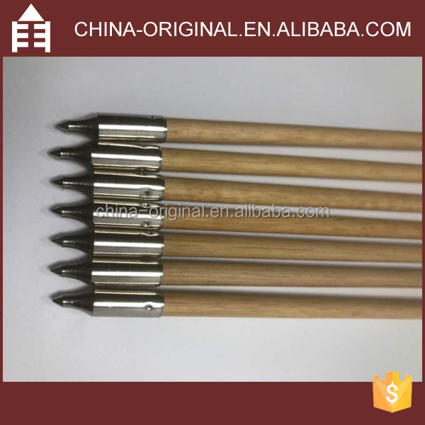30 Inches Bamboo Arrows Hunting Arrows with Steel Point and Feather Vanes for Hunting