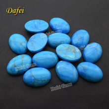 Oval Flat Bottom Cabochon Glue Treated Natural Turquoise