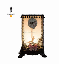 UL/CE/SAA approved cable/plug E14 lamp holder frence lace decoration + bowknot PVC shade+resin base table lamp with clock