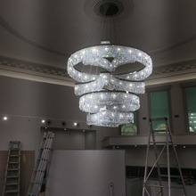 Modern LED 220V crystal chandelier rotary ceiling pendant light