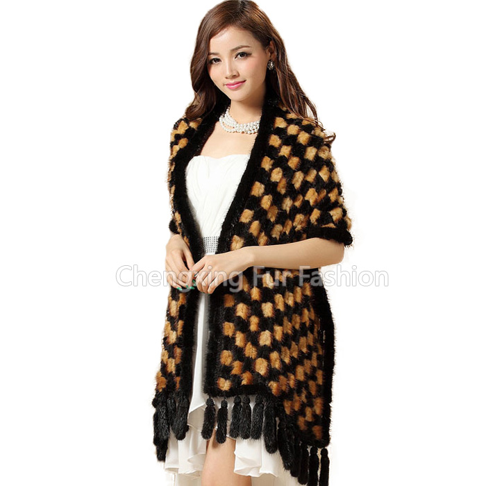 CX-B-M-38D Hot Sell Ladies Fur Cape/ Big Size Knitted 100% Mink Fur Shawl