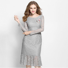 OEM china factory top grade bodycon long sleeve one piece lace anti-static formal elegant muslimah dress