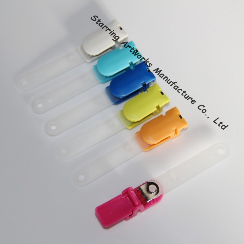 Office Supplies 14*30mm Mixed Colors Plastic MRI Safe Badge Clip