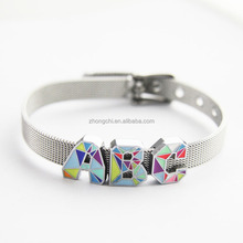 Factory supply personalized bracelets 8MM stainless steel slider charm bracelet