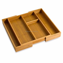 Expandable bamboo cutlery tray and organizer