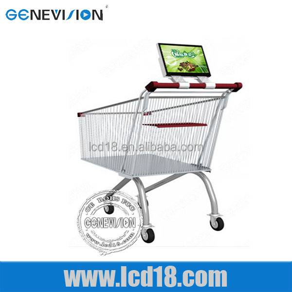 10.6 Inch China supplier stand alone supermarket shopping trolley lcd media player lcd <strong>advertising</strong>