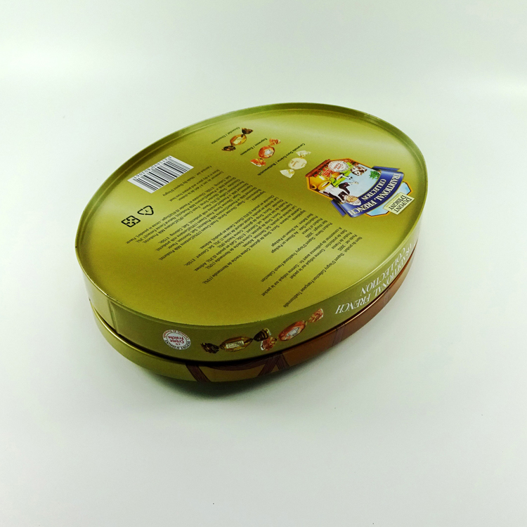 Food grade printing oval shape chocolate tin box