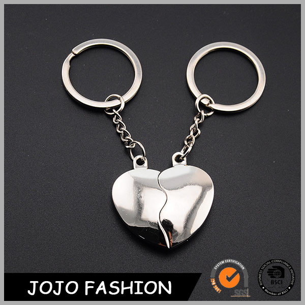 Heart Shaped Metal Magnetic Key Ring,Custom Couple Keychain/
