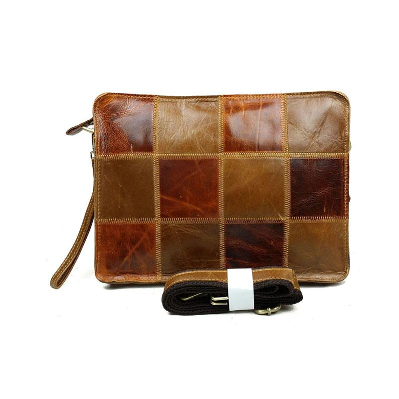 2015 High Quality Vintage Casual 100% Genuine Leather Cowhide Men Clutch Bag Shoulder Messenger Cross Body Ipad Bags For Totes