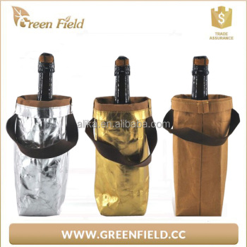 washable kraft paper bottle wine cooler bag