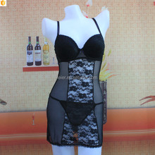 Wholesale transparent ladies lingerie sexy full lace black baby dolls