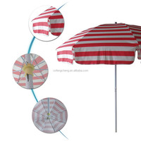 2013 hot sale red and white stripe leisure outdoor beach umbrella
