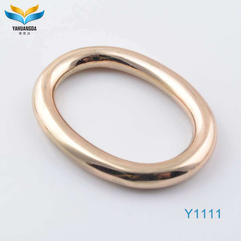 factory wholesale decorative shiny gold color custom made metal handbag oval o ring