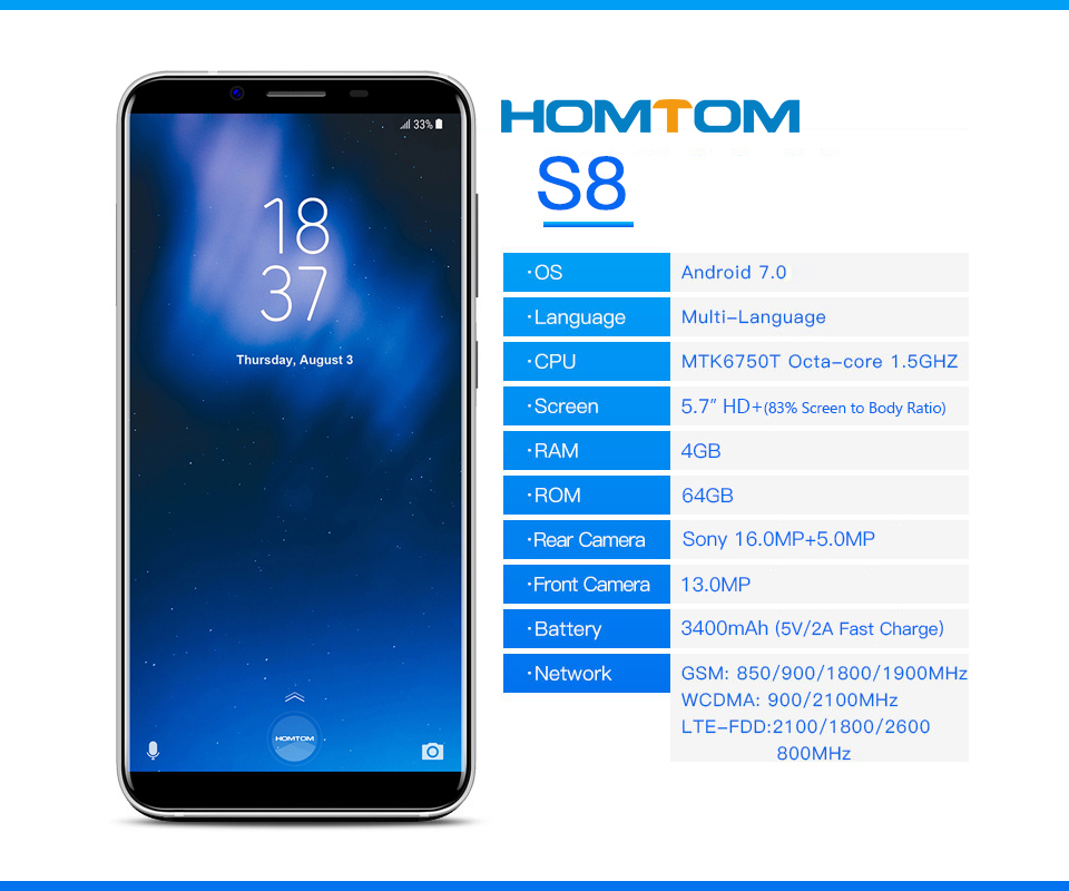 5.7 inch 4g smart android phone with homtom s8 4g mobile phone fingerprint unlock china phone