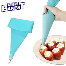9233 30cm Blue Silicone Reusable Icing Piping Pastry Bag for Cake Decoration