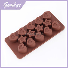 FDA/LFGB/SGS Star And Heart Microwave Safe Silicone Chocolate Mould