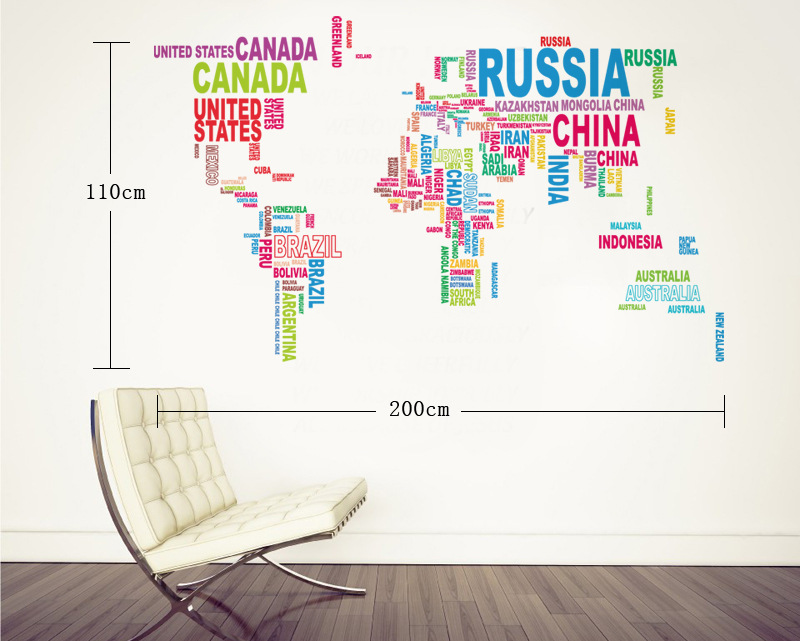 colorful letters world map wall stickers living room home decorations creative pvc decal mural diy office wall art wall sticker