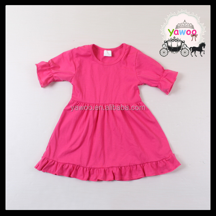 2016 yawoo hot pink cotton short sleeve tunic indian girls dress design baby girls fancy dress