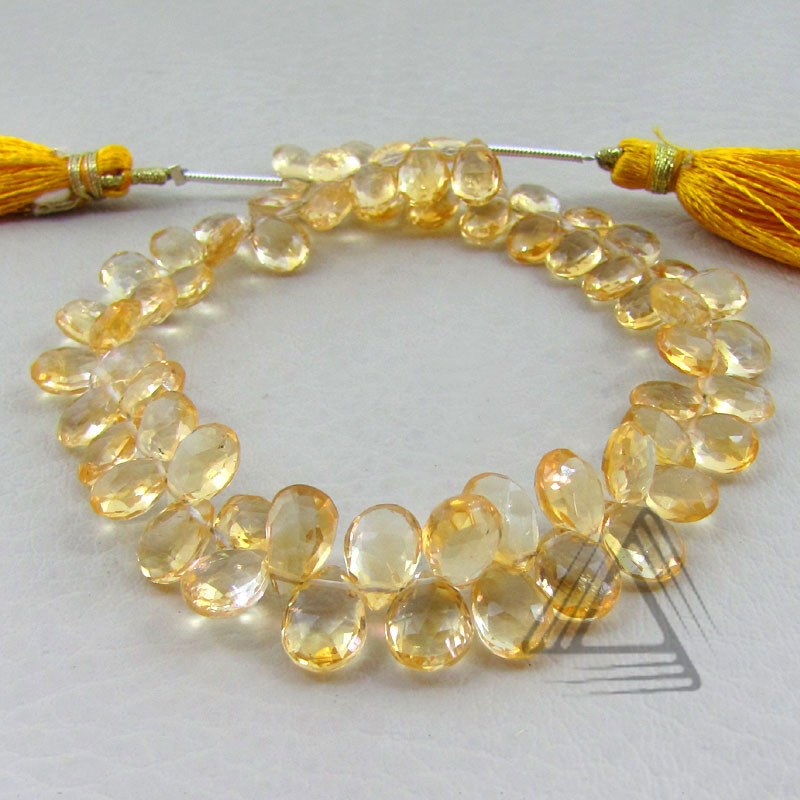 Pear Shape Golden Citrine Briolette Strands, Natural Wholesale Semi Precious & Precious Color Gemstone, Loose Beads