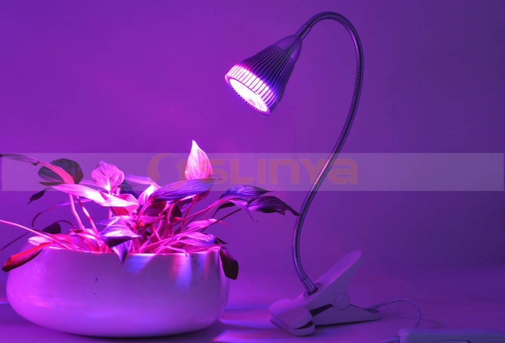 Full Spectrum LED Clip On Desktop Plant Grow Lamp Clamp Flexible Gooseneck For Garden Greenhouse