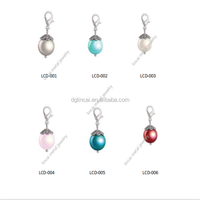 pearl dangle charms for glass floating locket pendant