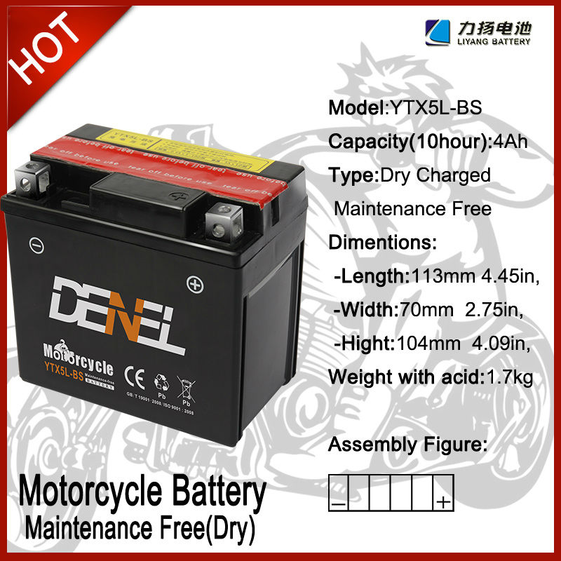 high power mf Motocicleta Batteries/mobility scooter/scooter batteries12V 4AH YTX5L-BS