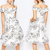 OEM China 100% Polyester Fashion Floral Off Shoulder Midi Prom Dress in Organza
