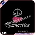 Shining Peace love gymnastics motif iron on rhinestone appliques for garment