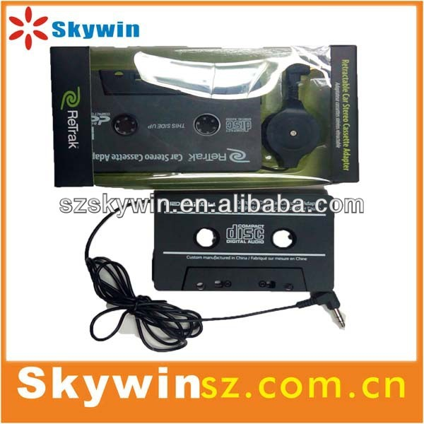 portable mini car audio Cassette Adapter for MP3/iPod and iPhone