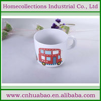 Reusable melamine kids name cups/red bus printed glasses