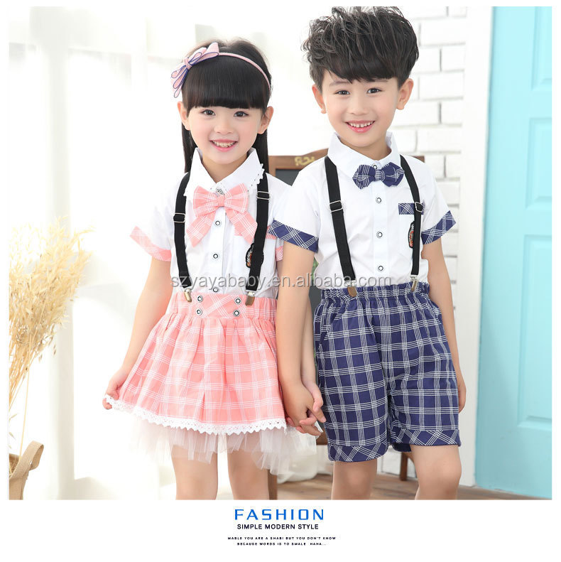 YY XF0703 primary school unisex boys girls check fabric school uniform