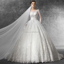 2015 New fashion real photo dress long sleeve ball gown tafetta crystal lace for embroidered wedding dresses in dubai